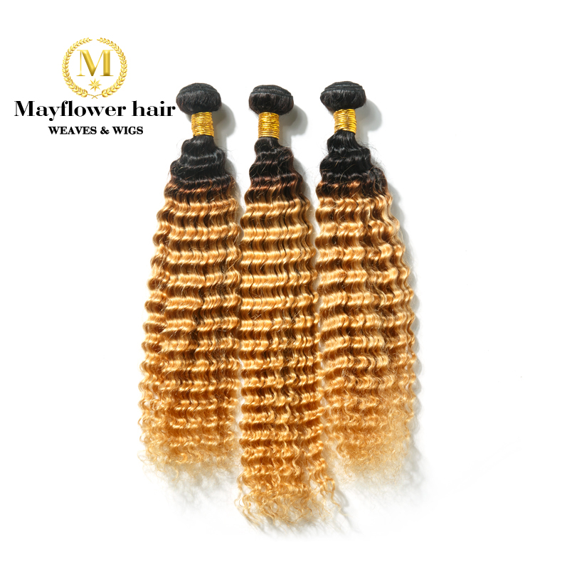 Mayflower Ombre Color 1b/27 Brazilian Deep Wave Remy Human Hair Weft 1/2/3/4 Bundles 12-24