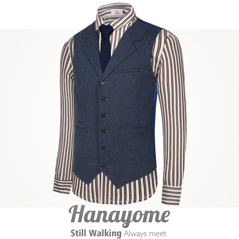 Men's Classic Party Wedding Plaid Floral Waistcoat Vest Steampunk Tweed Run 80' Suit Vest  Hanayome Designer Brand