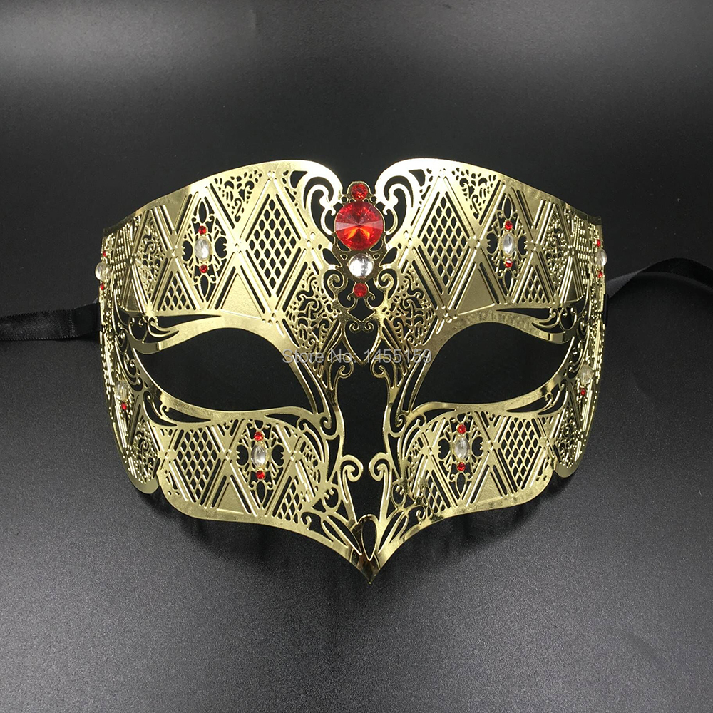 Luxury Gold Metal Laser Cut Venetian Masquerade Mask with Clear Rhinestones