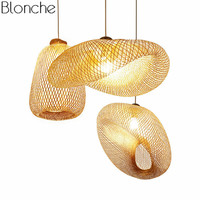 Japanese Bamboo Wicker Rattan Pendant Light Fixture Vintage Wave Shade Hanging Lamp Home Indoor Dining Room Suspension Luminaire
