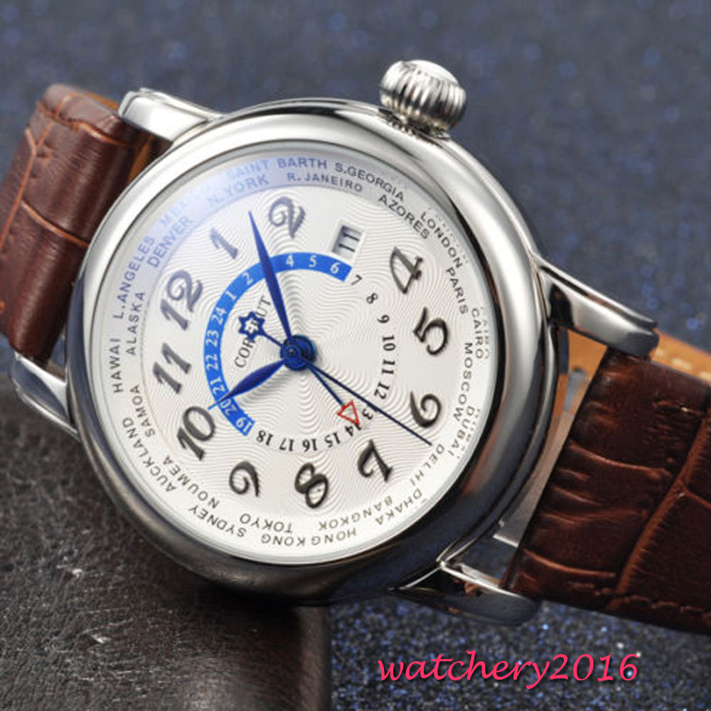 Corgeut 43 ミリメートル新加入ホワイト手 Gmt 日付窓ミネラルガラストップブランドの高級自動 Mechancial メンズ腕時計  グループ上の 腕時計 からの 機械式時計 の中 2