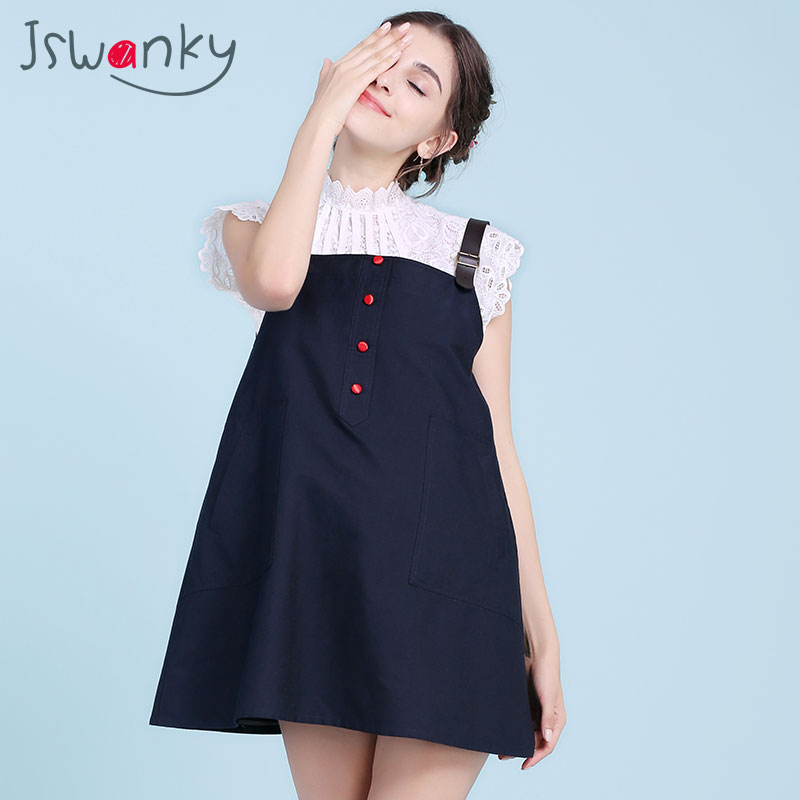 JSWANKY Cotton Radiation Protection Maternity Dresses Leather Belt Button Pocket Dress Clothes For Pregnant Women Clothing Blue 2016 summer new maternity clothes for the pregnant women 100% cotton fashion maternity dress doll dress big size gravida clothes