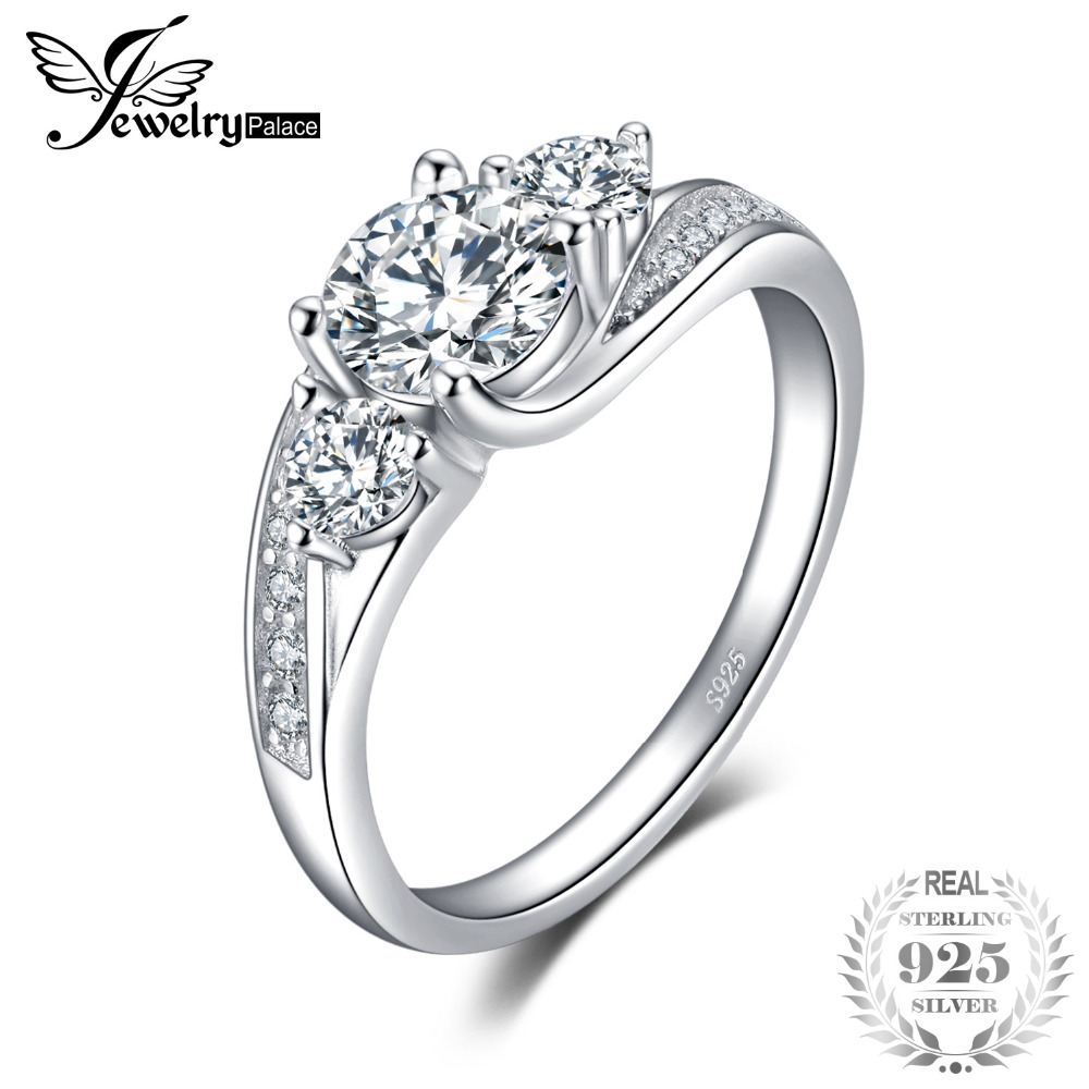 цена на JewelryPalace Classict Cubic Zirconia Engagement Promise Wedding Ring 925 Sterling Silver Birthday Present For Girlfriend