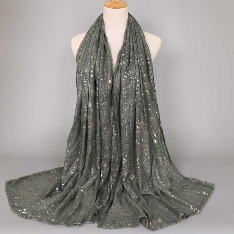 2019 Senhoras de Moda Plain Shimmmer Imprensa Prata Viscose Xale Cachecol de Inverno Bling Zig Zag Oversize Grosso Envoltório Hijabs Muçulmanos Sjaal