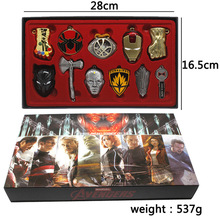 11pcs/set Marvel Avengers Iron Man Black Panther Thanos Metal Pendants+necklace+keychain+box Ornament Cosplay Collection Gift marvis black box gift set