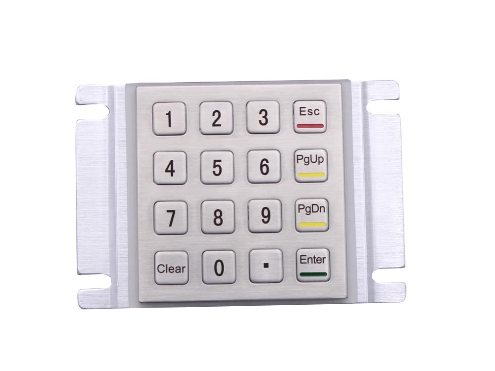 Metal Keypad Vandal Proof Rugged Panel Mount Stainless Steel Keyboard for Kiosk USB Industrial Keyboard With