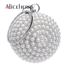 Luxury Handbags Women Bags Designer Full Diamond Pearl Evening Bags Chain Wedding Party Bag Women Round Clutch Handbag and Purse