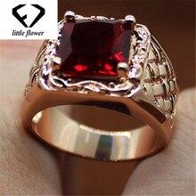 14k Ruby Engagement Anillos De Ring for Women Diamante Bague Etoile Bizuteria Classic Jewelry red topaz Wedding Gemstone