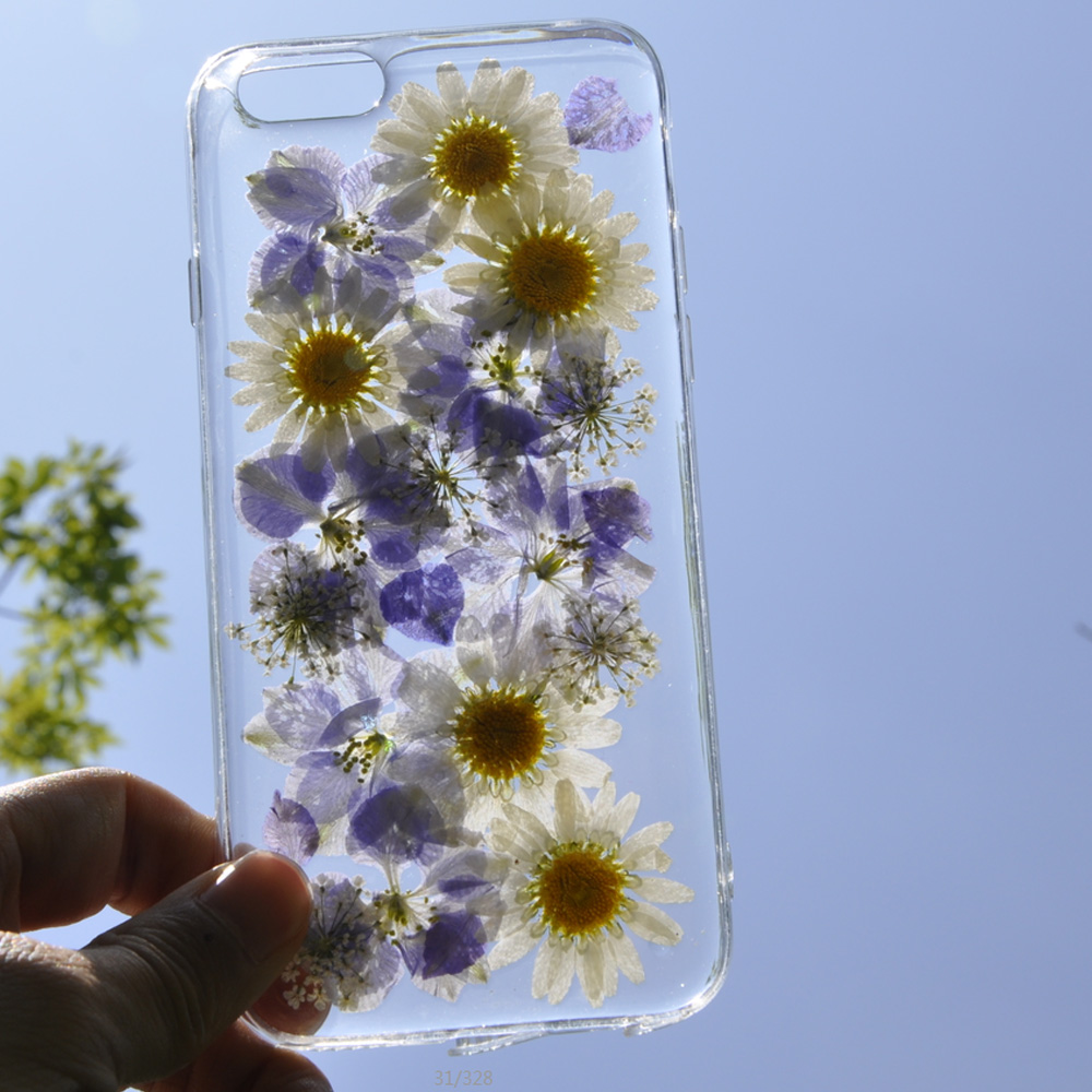 Clear Phone Iphone X Real Dried Flower Cases Lovley Floral Back Cover For Iphone X 8 Plus 6 7 Plus 5S Fundas