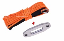 Orange 5mm*15m Boat Winch Cable&4000lbs Hawse Fairlead,ATV Winch Line for Winch Accessaries,Synthetic Winch Rope