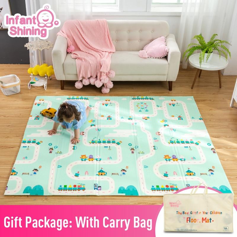 Bébé brillant épaissi 1.5 cm tapis de jeu 200*180 cm pliable dessin animé bébé tapis de jeu enfants ramper Pad Puzzle antidérapant tapis de jeu - 2