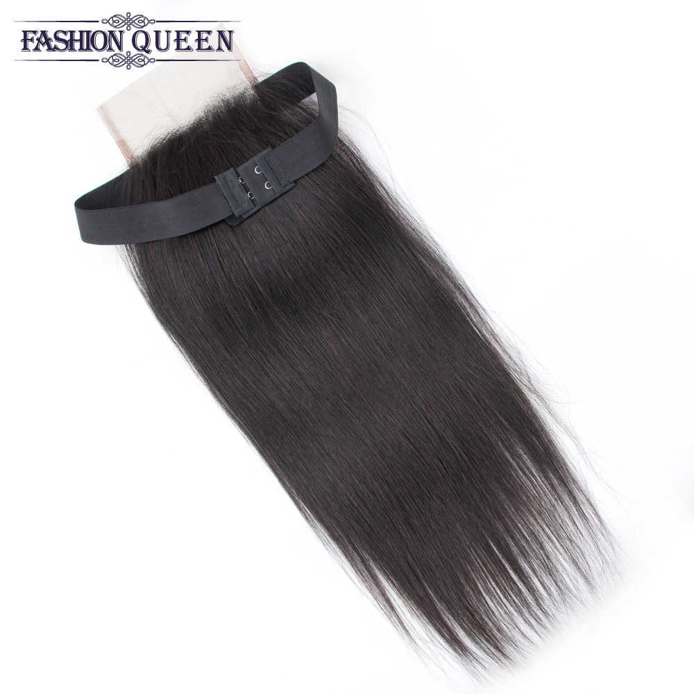 Brazilian Straight Hair Lace Closure Free/Middle/Three Part Non Remy Human Hair Closure Elastic Band lace closure Adjustable