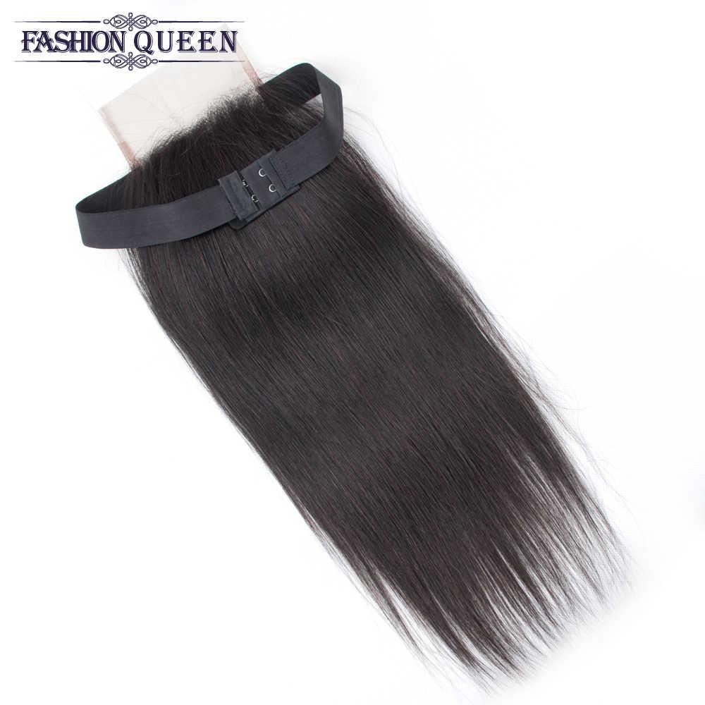 Elastic Band lace closure Straight Lace Closure Malaysian Natural Color 4*4 Free/Middle/Three Part Non Remy Human Hair Closure