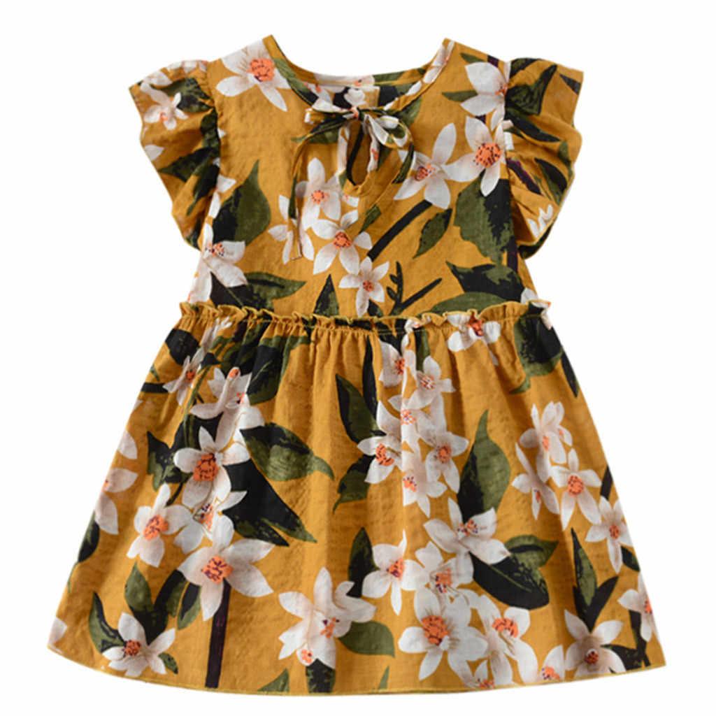 MUQGEW/платье для малышей; одежда для маленьких девочек; платье с рюшами и рукавами-крылышками для девочек; летнее пляжное праздничное платье принцессы