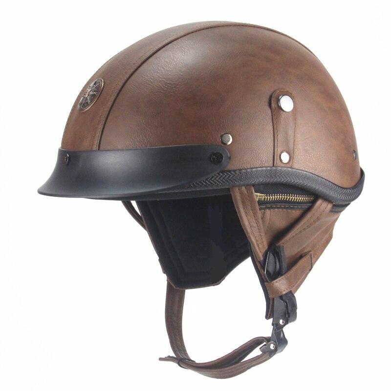 PU Leather Motorcycle Helmet vintage Half Face harley ...
