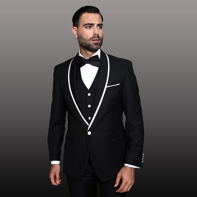ab1b09985f3 2018 black man suit for wedding white and black satin shawl lapel classic jacket  blazer hombre tuxedos custom slim fit 2 piece