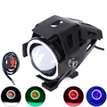 Universal Motorcycle LED auxiliary Headlight cree Chip u7 125w 3000lm 6000K Fog DRL Spotlight u7 headlight head lights motorbike