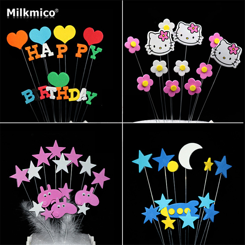 Baby Shower Cupcake Picks Cake Toppers Star Kt Topper Kids Happy Birthday Party Baking Accessories