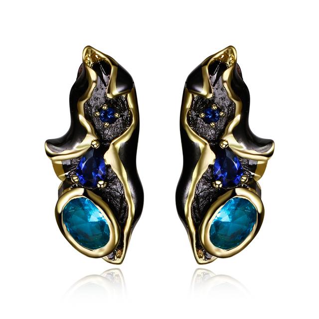Recém Postado projeto Do Vintage com Azul Cubic Zirconia cristal Preto/Placa de Ouro brincos de Jóias