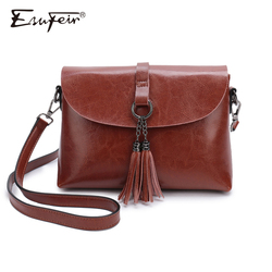 New Arrival Genuine Leather Women Crossbody Bag Fashion Tassel Messenger Bag Simple Design Small Female Shoulder Bag Women Purse