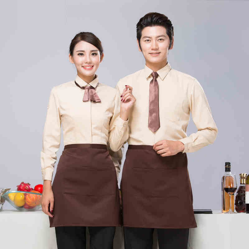 Fast Food Shop Cafe Waitress Uniform Jacket Hotel Overalls Summer Women's Restaurant Dining Long Sleeve Waiter Work Wear H2316
