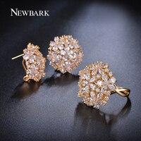 NEWBARK Romantic Stud Earrings Ring Jewelry Set Flower Design Water Drop CZ Diamond 18k Gold Plated