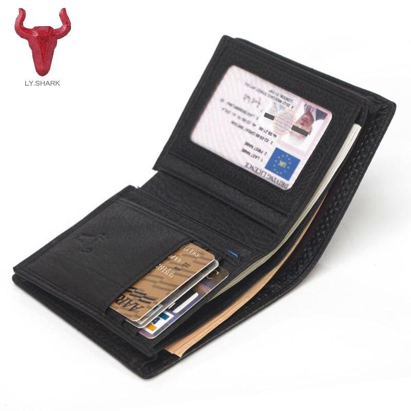 LY.SHARK New Genuine Leather men Wallet female Women purse Standard Wallets coins pocket luxury designer Short Top Card Holder защитное стекло для iphone 7 plus onext на весь экран с белой рамкой