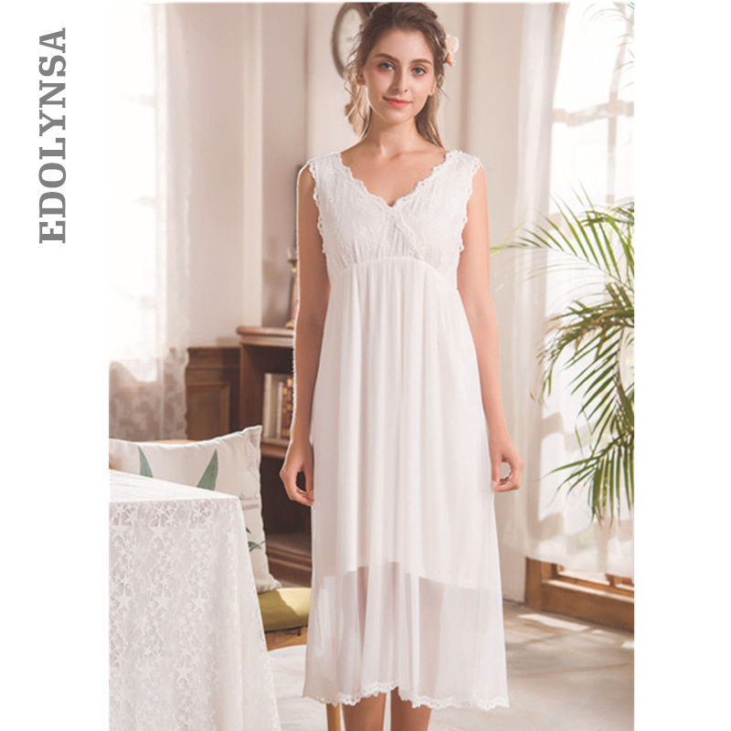 White Lace Backless Cami Nightdress Women High Waist Sleepwear Sexy V Neck Sleeveless Summer Lingerie   Nightgowns     Sleepshirts   T57