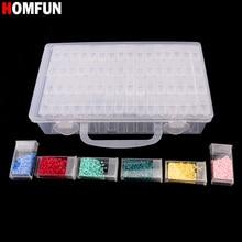 HOMFUN алмаз вышивка алмаз живопись инструмент! 64 Решетки, прозрачный пластик коробка для хранения, 64 сетка ювелирные изделия дрель коробка для хранения