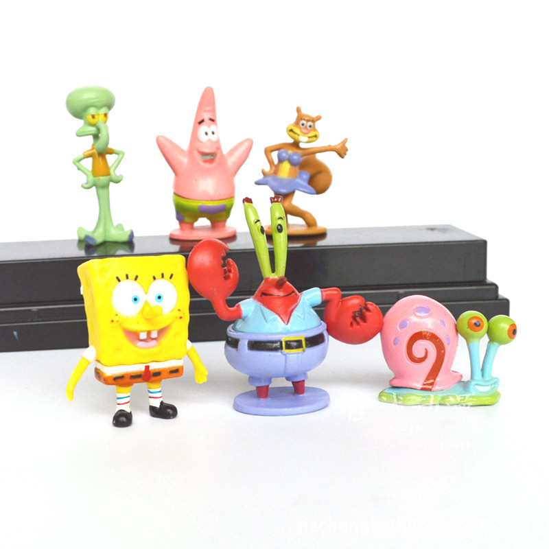 6 unids / set Acuario Fish Tank Decoration SpongeBob Squidward Cartoon Fish Tank Decoración de Juguete
