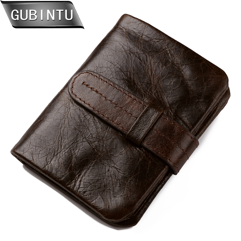 GUBINTU Wallet Vintage Ekte Lær Menn Kort Bifold Wallets Kort Holder Purse Coin Pocket Male Zipper Purses