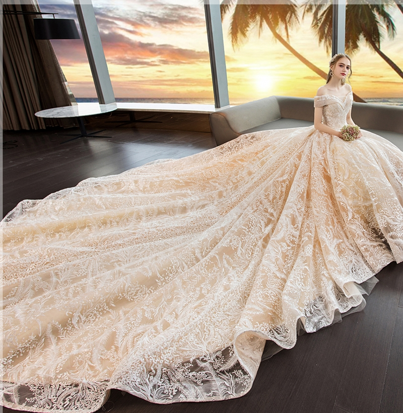 2019 Luxury Shinny Wedding Dress Sweetheart Champagne Lace Applique Wedding Dresses Muslim Bridal Gowns Robe De Mariage