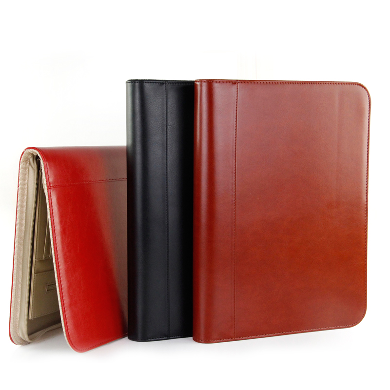 job executive woman man PU leather folder zipper padfolio business organizer IPAD mobile documents holder ring binder black/red(China)