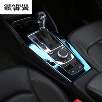 Car Console Gear shift Panel Decoration Cover Trim Water Cup Decal Strip Blue Color Molding Stainless Steel For Audi A3 8V LHD