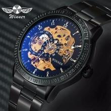 WINNER Fashion Business Auto Mechanical Watch Men Stainless Steel Strap Blue Mirror Case Skeleton Mens Watches Top Brand Luxury