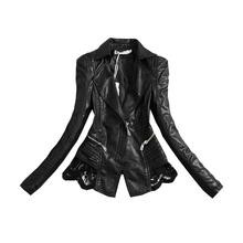 Plus Size 3XL 2017 New Fashion PU Jacket Lace Patchwork Slim Women Jacket Pu Leather V-neck Short Outwear Coat S352