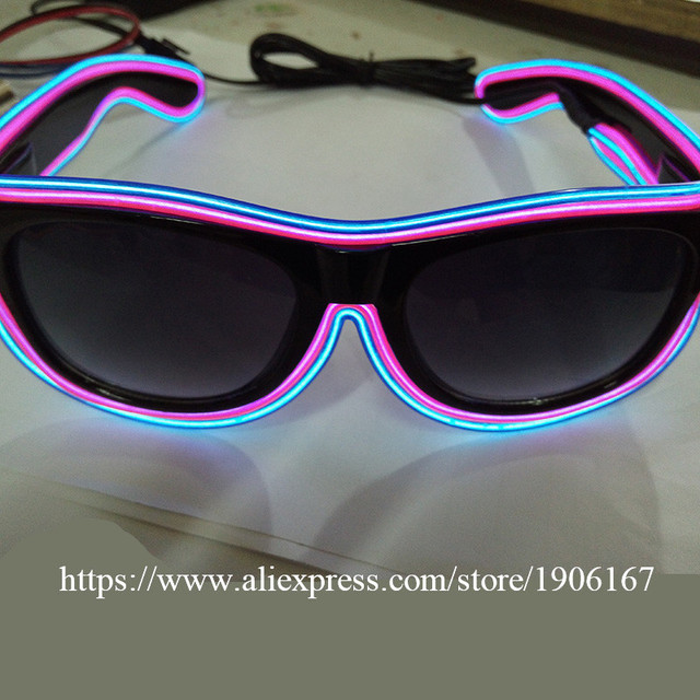 5 Pcs  Lot Led Light El Wire Glasses Fashion Neon Luminous