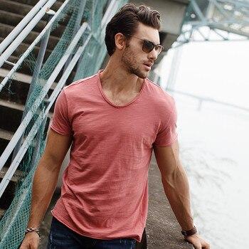 GustOmerD Brand T shirt Men's V-neck Slim Fit Pure Cotton T-shirt Fashion Short Sleeve T shirt Men's Tops Casual Tshirt M-XXL 6