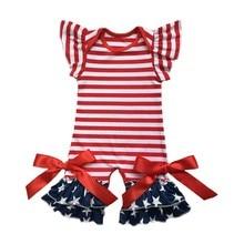 48c6e2866 أمريكا الوطني الرضع الملابس ملابس لحديثي الولادة في 4th من يوليو الطفل ثوب  رومبير رفرفة كم