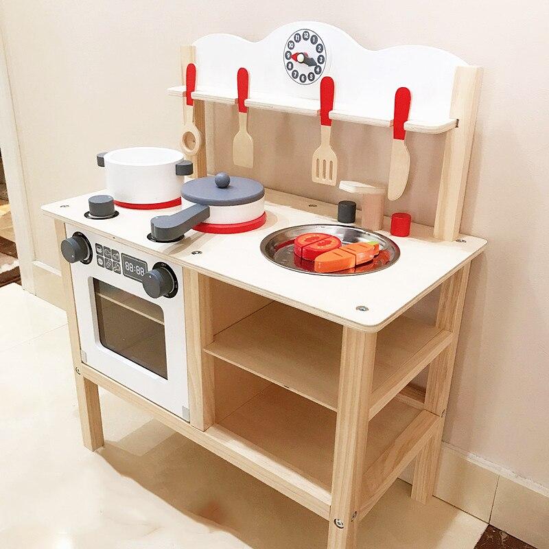 Children Wooden Kitchen Toy Pretend Play Original Wooden Hearth Table Kitchen Cookware Set Kids Birthday Christmas Gift
