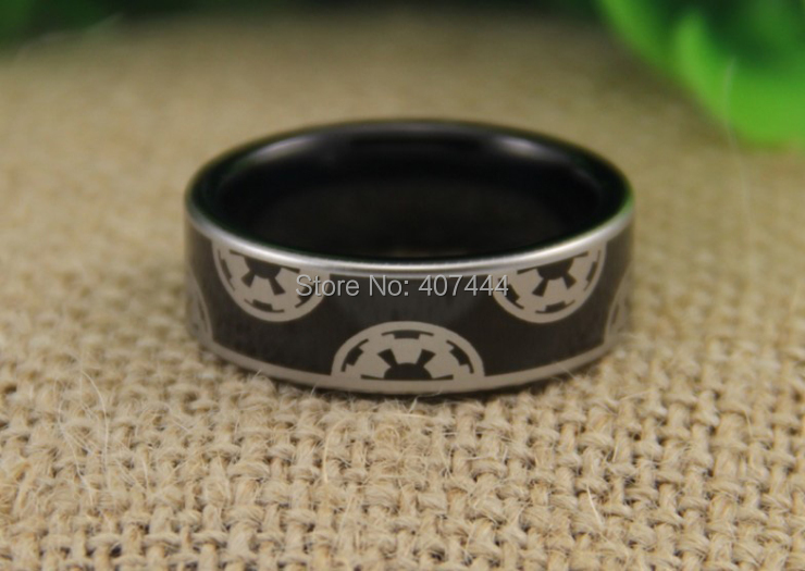 Free Shipping YGK JEWELRY Hot Sales 8MM High Polish Black Pipe Star Wars Imperial Empire Tungsten