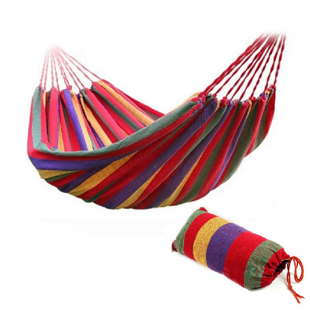 2017 hot 190 x 80cm Hammock Portable Outdoor Garden Sports Home Travel Camping Swing Canvas Stripe Hang Bed Sticker Two colors outdoor sleeping parachute hammock garden sports home travel camping swing nylon hang bed double person hammocks hot sale