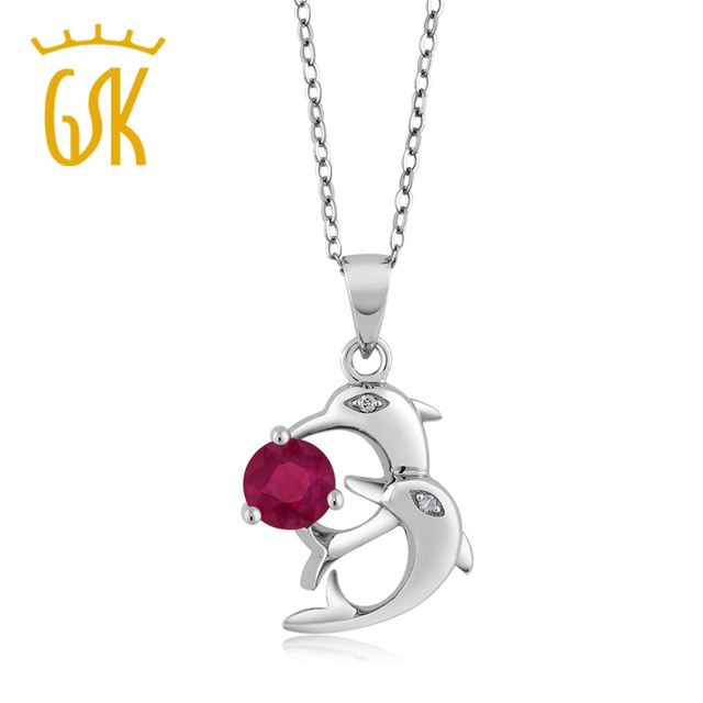 GemStoneKing 1.02 Ct Round Natural Red Ruby White Diamond  Fine Jewelry 925 Sterling Silver Dolphin Pendant Necklace For Women