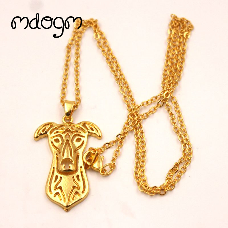 2018 Cute Greyhound Necklace Dog Animal Pendant Gold Silver Plated Jewelry For Women Male Female Girls Ladies Kids Boys N032