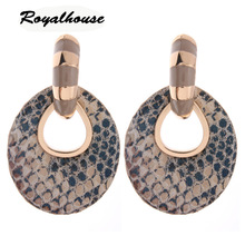 Royalhouse Big Earring fashion jewelry Printed rings for women Leather  Ear femme Large Brinco Oorbellen Halloween