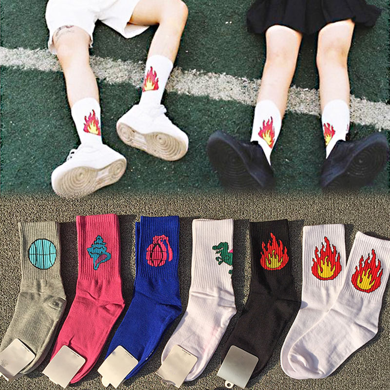 LNRRABC New jacquard   Socks   Hot Sale Cotton 9 Patterns Funny Women Fire Print Creative Lovers In Tube Cotton   Socks   for Female