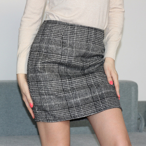 Image 4 - Haoduoyi Pencil Sexy High Waist Plaid Mini Short Skirt Casual Women Office Lady Buttoms Zipper Back Hot Sell The New Listing