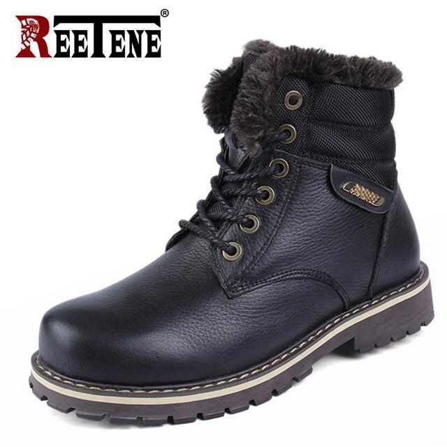 REETENE Winter Boots Men Genuine Leather Men's Boots High Top Big Size Cotton Cow Leather Martin Boots Leisure Men'S Shoes