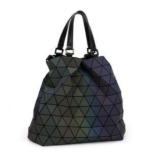 Image 4 - Maelove Luminous bags Women Geometry lattic Sequins Mirror Saser Plain Folding Bags Casual Tote bag Hologram Free Shipping