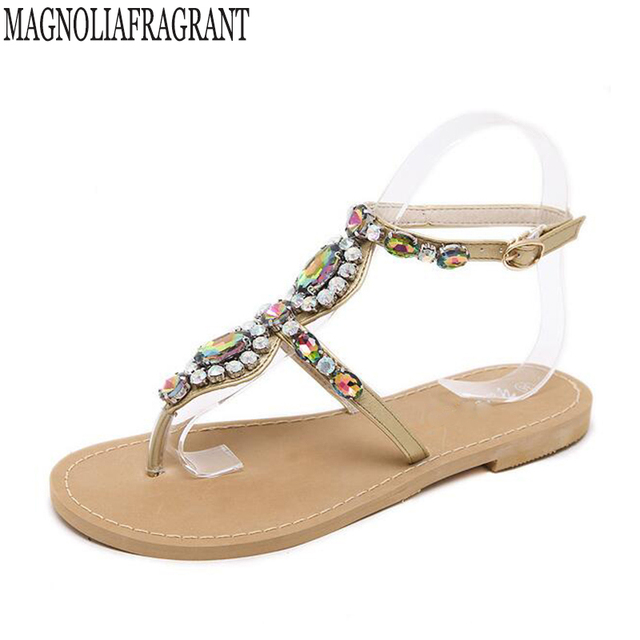 a0ef26a44e135e 2018 Woman Sandals Women Shoes Rhinestones Chains Thong Gladiator Flat  Sandals Crystal Chaussure Plus Size tenis feminino k699
